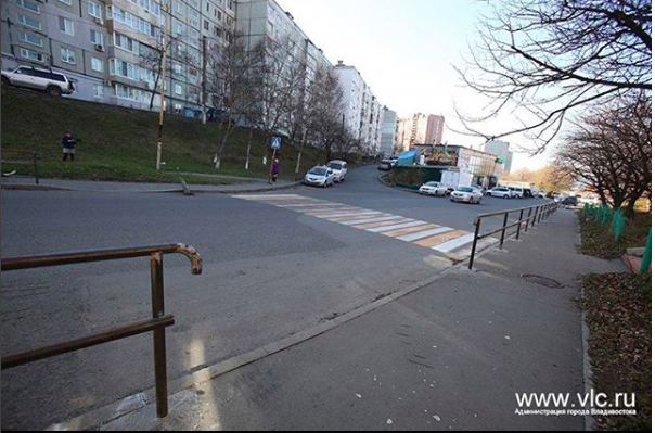 Граждан Владивостока удивил пешеходный переход— «Зебра» вникуда